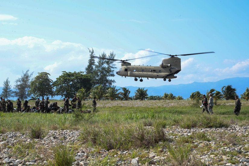 A U.S. Army CH-47 Chinook lands in the Gracias a Dios Department (state), Honduras, Jan. 13, 2016. The Army supports the transportation of Honduran troops to various, hard to reach locations within the department to help the Honduran Government in their efforts disrupt the flow of illicit drugs. (U.S. Air Force photo by Senior Airman Westin Warburton/Released)