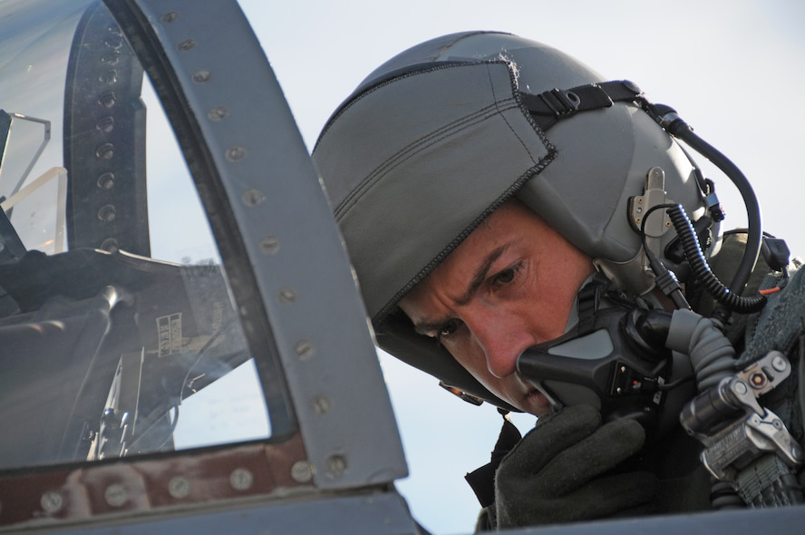 U.S. Air Force Capt. Alexander Frank, F-15 student pilot, runs through the startup procedures in preparation for his check ride in the F-15 Eagle Jan. 27, 2016 at Kingsley Field in Klamath Falls, Ore.  During this flight, Frank had to demonstrate his ability to fly in inclement weather using the aircraft instruments.  (U.S. Air National Guard photo by Tech. Sgt. Jefferson Thompson/released)
