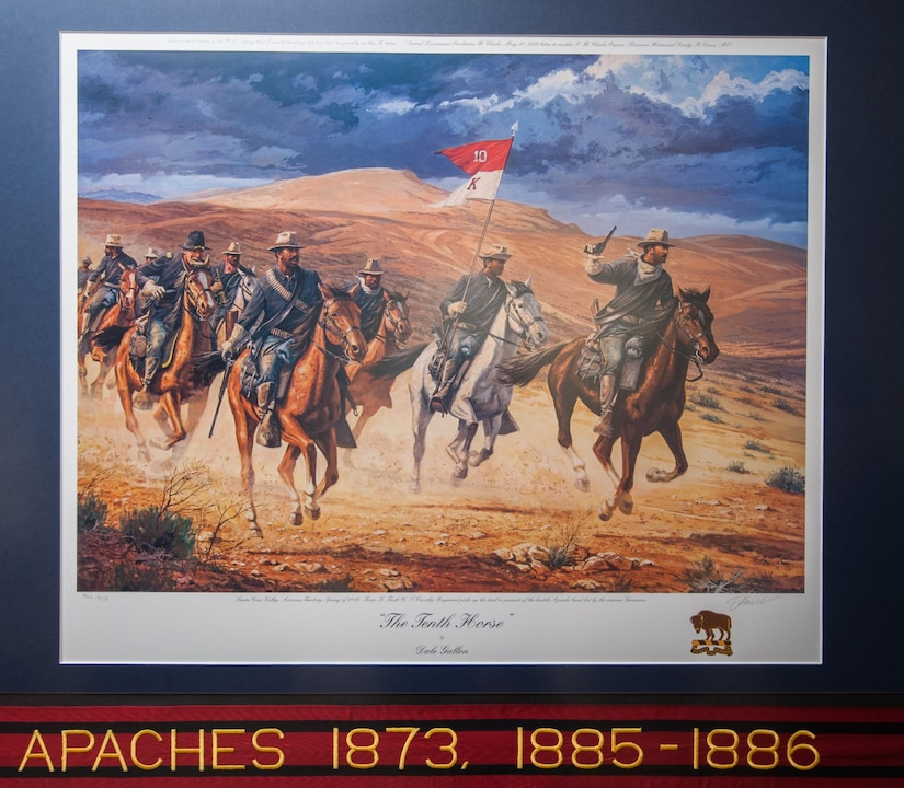Buffalo Soldier prints, by famed historical artist Dale Gallon, hang in the U.S. Army Reserve Command Headquarters on Fort Bragg, N.C., Feb. 12, 2013. The prints, located on the first floor near the USARC G-4, are in commemoration of Black History month.
