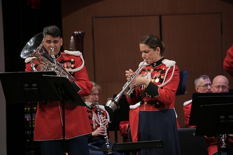 "On Sunday, Jan. 31, 2016 Assistant Director 1st Lt. Ryan J. Nowlin led the Marine Band in a program titled ""Childhood Dreams"" at the Rachel M. Schlesinger Concert Hall at Northern Virginia Community College in Alexandria. Tom Davoren, the composer of the selection ""Ascension,"" was on hand to enjoy the standing ovation his music elicited from the audience. (U.S. Marine Corps photo by Master Sgt. Kristin duBois/released)"