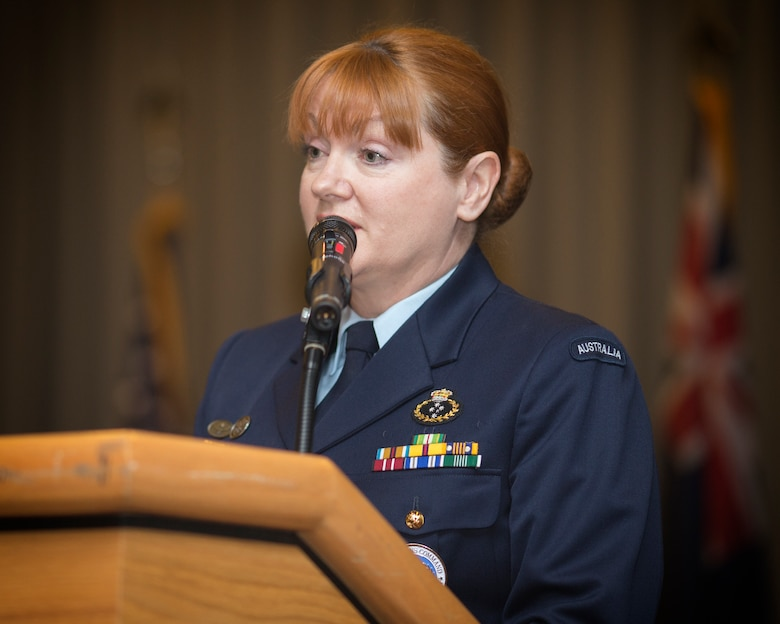 Royal Australian Air Force Group Captain Barbara Courtney, United Nations Command (Rear) commander, gives her final speech as commander during the UNC (Rear) change of command ceremony at Yokota Air Base, Japan, Jan. 26, 2016. As the United Nations Command's principal representative in Japan, the UNC-R maintains the status of forces agreement regarding United Nations Forces in Japan during armistice conditions. (U.S. Air Force photo by Osakabe Yasuo/Released)