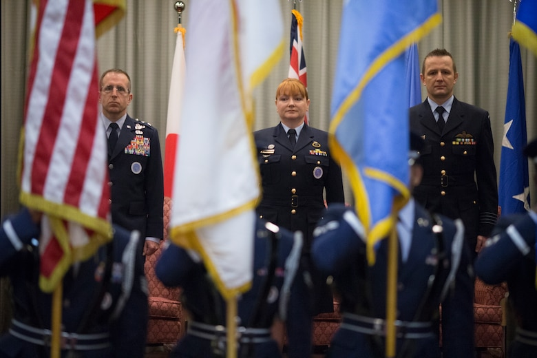 Yokota Base Honor Guard posts the colors during the United Nations Command (Rear) change of command ceremony at Yokota Air Base, Japan, Jan. 26, 2016. The UNC-R is composed of eight nations accredited to the United Nations Command; Australia, Canada, France, New Zealand, the Philippines, Thailand, Turkey, and the United Kingdom of Great Britain. (U.S. Air Force photo by Osakabe Yasuo/Released)
