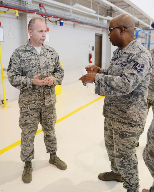 Command Chief Master Sergeant of the Air National Guard James W. Hotaling spent time talking with 147th Reconnaissance Wing enlisted members at Ellington Field JRB in Houston, January 30, 2016. Hotaling talked about commitment to the profession of arms, health of the force, recognizing our accomplishments and finished the enlisted all call by answering questions from the airmen.