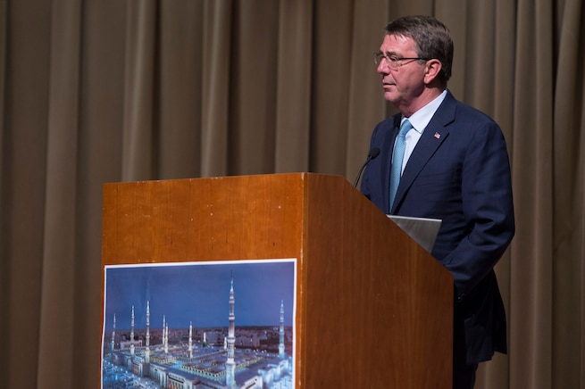 Defense Secretary Ash Carter speaks at the Ramadan Iftar event at the Pentagon, June 30, 2016. DoD photo by Air Force Senior Master Sgt. Adrian Cadiz