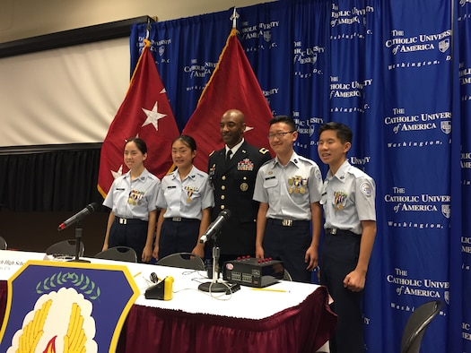 A team of Air Force Junior ROTC cadets from Scripps Ranch High School placed first in the 2016 JROTC Joint Service Academic Bowl Championship, held in Washington, D.C., June 25-27. Pictured are Cadet Gracie Richards, Cadet Michelle He, Army Brig. Gen. Sean Gainey, deputy commanding general, U.S. Army Cadet Command, Cadet Joonhyuk Lee and Cadet Jackwin Hui. (Courtesy photo)