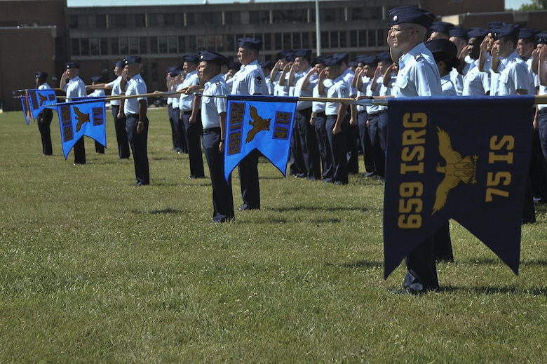 Squadrons that comprise the 659th Intelligence, Surveillance and Reconnaissance Group present their Flag during the 659th ISRG change of command ceremony June 29, 2016 at Fort George G. Meade, Md. The 659th ISRG conducts global integrated cyber ISR operations with Air Force, Joint, and Intelligence Community partners to detect, characterize, and mitigate cyber threats, exploit computer networks and enable full-spectrum cyberspace operations. (U.S. Air Force photo/Staff Sgt. Alexandre Montes)