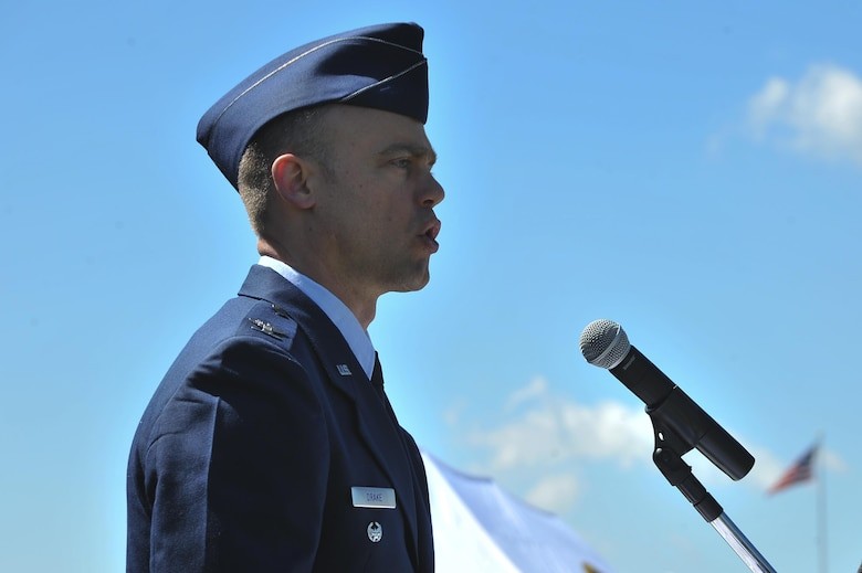 Col. Aaron Drake, 659th Intelligence, Surveillance and Reconnaissance Group commander, give his welcoming remarks during the 659th ISRG change of command ceremony June 29, 2016, at Fort George G. Meade, Md. The 659th ISRG conducts global integrated cyber ISR operations with Air Force, Joint, and Intelligence Community partners to detect, characterize, and mitigate cyber threats, exploit computer networks and enable full-spectrum cyberspace operations. (U.S. Air Force photo/Staff Sgt. Alexandre Montes)