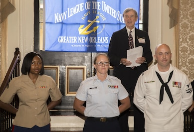"Service members from units in the New Orleans area are recognized as the Sailor, Marine and Coast Guardsman of the Year for their respective units by the Navy League of the United States Greater New Orleans Council  at ""A Taste'n Toast to Our Armed Services"" event at the Bourbon Orleans Hotel, New Orleans, July 30, 2016. Cpl. Shereka K. Slater (left), an administrative specialist with Marine Forces Reserve Installation Personnel Administration Center, received the Marine of the Year Award for Marine Forces Reserve. The Navy League is comprised of 40,000 civilians in more than 240 councils around the world working to support sea service members and their families. (U.S. Marine Corps photo by Sgt. Ian Leones/Released)"