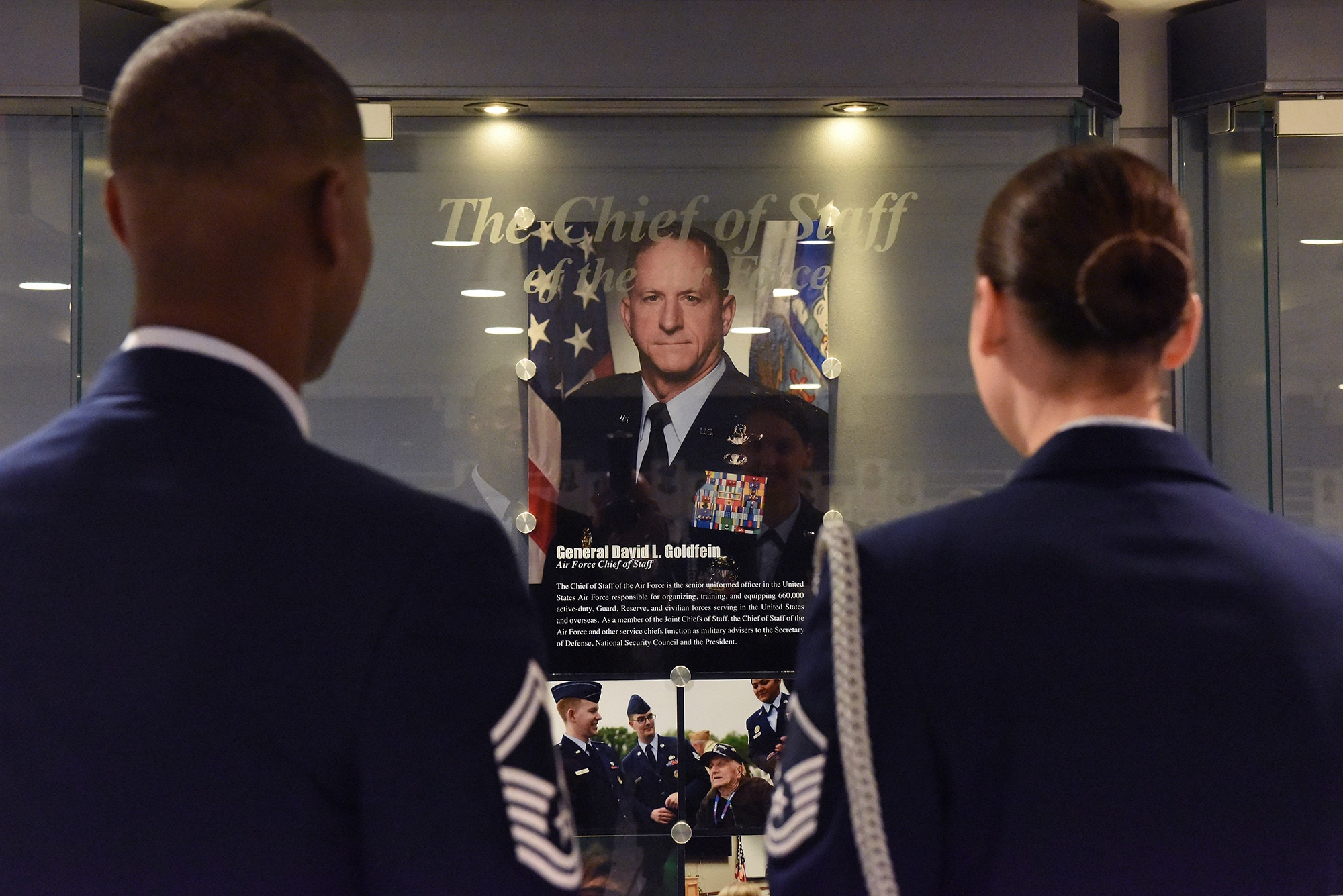 """Air Force Chief of Staff Gen. David L. Goldfein's photo and biography are now on display in the """"Airmen's Hall"""" after he was sworn into office by Air Force Secretary Deborah Lee James during a ceremony at the Pentagon in Washington, D.C., June 1, 2016. Goldfein became the 21st chief of staff of the Air Force. (U.S. Air Force photo/Tech Sgt. Dan DeCook)"""