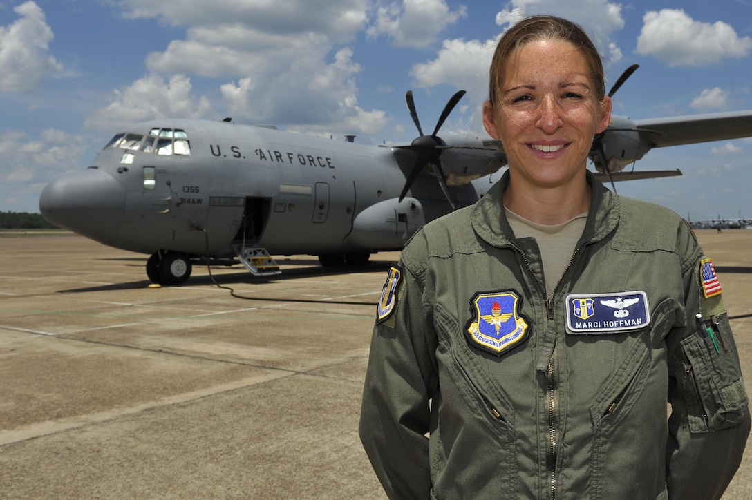 U.S. Air Force Maj. Marci Hoffman, 314th Operations Group training office flight commander, oversees all training performed by the 61st Airlift Squadron and the 48th Airlift Squadron at Little Rock Air Force Base, Ark. During her most recent deployment, Hoffman advised and assisted Iraqi air force members specializing in the C-130J aircraft to further their air mobility training program and overall mission. (U.S. Air Force photo by Kevin Sommer Giron)