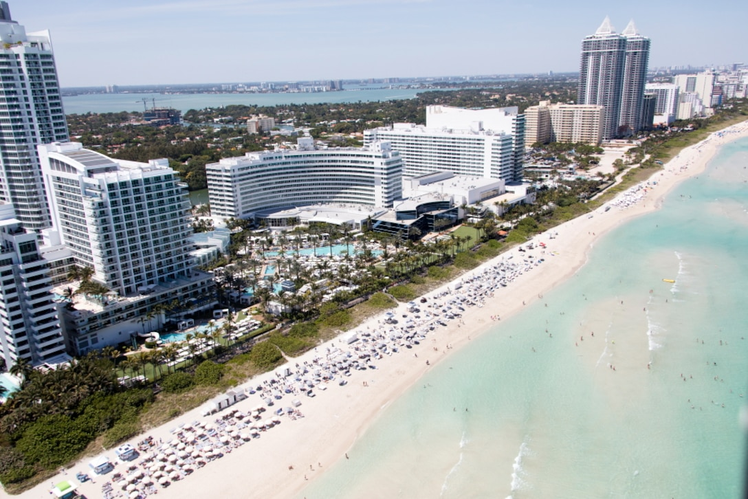 A critically eroded area near 46th Street in Miami Beach will be renourished with beach-quality sand from the south end of the Fontainebleu Hotel (curved building) to the area between of the twin towers of the Blue and Green Diamond Condominiums. The properties immediately to the north and south will also be part of the construction area.