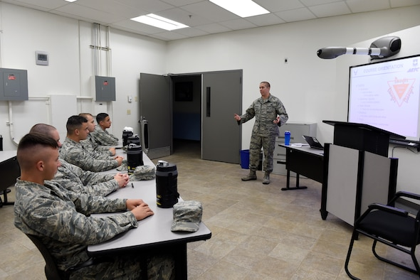 Staff Sgt. Arthur Verchot, 372nd Training Squadron, Detachment 12, F-35 Mission-Ready Airmen class instructor, goes over the course orientation June 30, 2016 at Luke Air Force Base, Ariz. This is the first F-35 MRA class held at Luke.  (U.S. Air Force photo by Staff Sgt. Staci Miller)