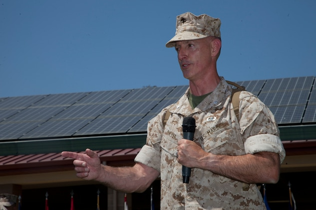 U.S. Marine Corps Lt. Col. Brian Dwyer, outgoing commanding officer, Wounded Warrior Battalion-West, addresses the audience during a Change of Command Ceremony at Camp Pendleton, Calif., June 30, 2016.  A Change of Command is a military tradition that represents a formal transfer of authority and responsibility for a unit from one Commanding Officer to another. (U.S. Marine Corps photo by Lance Cpl. Brandon Martinez, MCIWEST-MCB CamPen Combat Camera/Released)