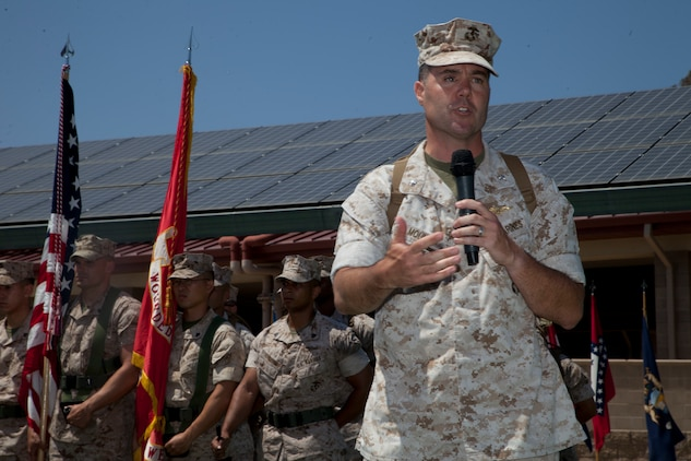 U.S. Marine Corps Lt. Col. Stephen Mount, commanding officer, Wounded Warrior Battalion-West, addresses the audience during a Change of Command Ceremony at Camp Pendleton, Calif., June 30, 2016.  A Change of Command is a military tradition that represents a formal transfer of authority and responsibility for a unit from one Commanding Officer to another. (U.S. Marine Corps photo by Lance Cpl. Brandon Martinez, MCIWEST-MCB CamPen Combat Camera/Released)