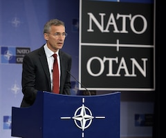 NATO Secretary General Jens Stoltenberg briefs the press in Brussels on the agenda for the July 8-9 Warsaw Summit in Poland, July 4, 2016. NATO photo