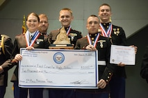 18  Mar 2016,  PERRY, OH – In precision action during the 2016 JROTC National Championship, Marine Corps teams took first and third place, with East Coweta High School MCJROTC from East Coweta, Georgia earning top honors for the second year in a row.    Recording an overall aggregate score of 4694-307x, the team also set a Marine Corps and Overall National Record for recording a score of 2356-165x.