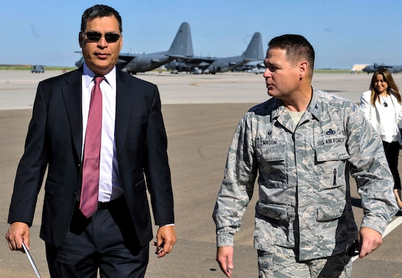 Stephen Herrera, Air Force Special Operations Command executive director, receives a tour of aircraft on the flight line June 27, 2016, at Cannon Air Force Base, N.M. Herrera is the first executive director of AFSOC. He hosted two civilian all-calls to discuss important topics and explain the new position. (U.S. Air Force photo/Staff Sgt. Eboni Reams)