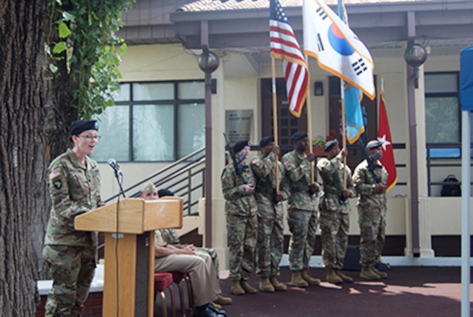 The new DLA Energy Pacific at Korea Commander Army Lt. Col. Faith Chamberlain addresses the audience at the DLA Energy Pacific at Korea change of command ceremony in Camp Walker, Daegu, Korea, June 28