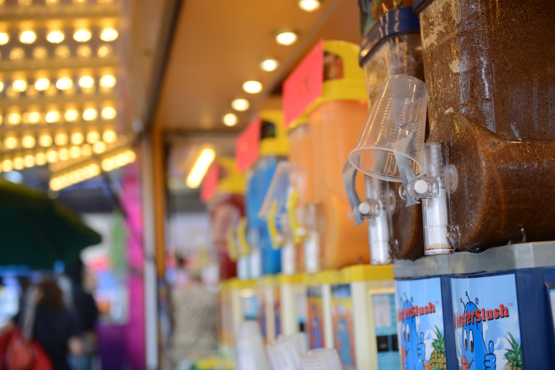 Slushies sit on a kiosk ready for consumption during Freedom Fest 2016 at Ramstein Air Base, Germany, July 4, 2016. The Independence Day celebration included a variety of foods, games, rides and fireworks for Kaiserslautern Military Community members. (U.S. Air Force Photo/ Airman 1st Class Joshua Magbanua)