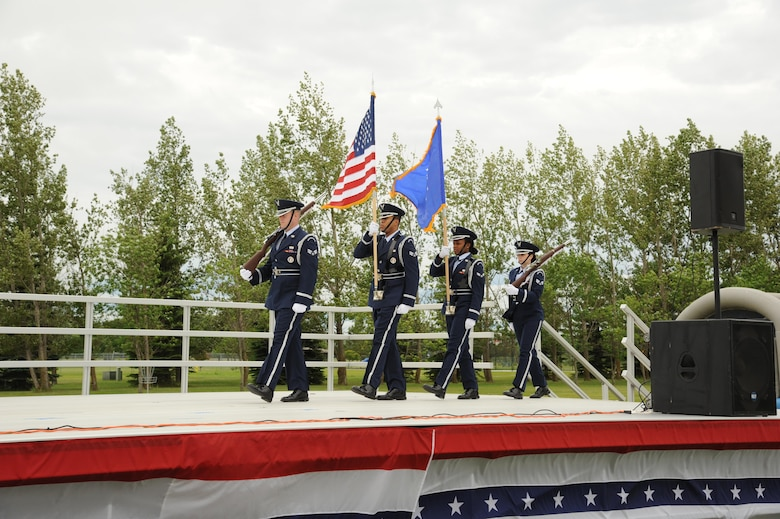 CAVALIER AIR FORCE STATION, N.D. – The 319th Air Base Wing Honor Guard presents the colors on Cavalier Air Force Station, N.D., June 11, 2016. The presentation of the colors marked the official beginning of the baes open house. (U.S. Air Force photo by Senior Airman Ryan Sparks)
