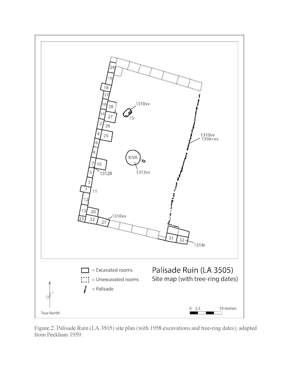 Diagram of the Palisade Ruin site (with 1958 excavations and tree-ring dates).