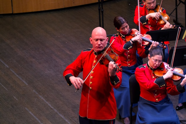 The Marine Chamber Orchestra performs in concert at the Rachel M. Schlesinger Concert Hall at Northern Virginia Community College on March 3, 2013. (U.S. Marine Corps photo by GySgt Amanda Simmons/released)