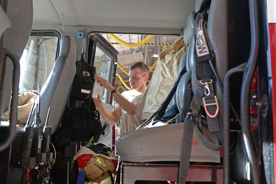 Senior Airman Silviu Feceu, 940th Civil Engineer Squadron (CES) firefighter, conducts daily checks of vehicles and equipment June 30, 2016, at Beale Air Force Base, California. The Beale Fire Department's responsibility is to protect base personnel, property and the environment from fire and disaster on the installations approximately 23,000 acres. (U.S. Air Force photo by Senior Airman Ramon A. Adelan)