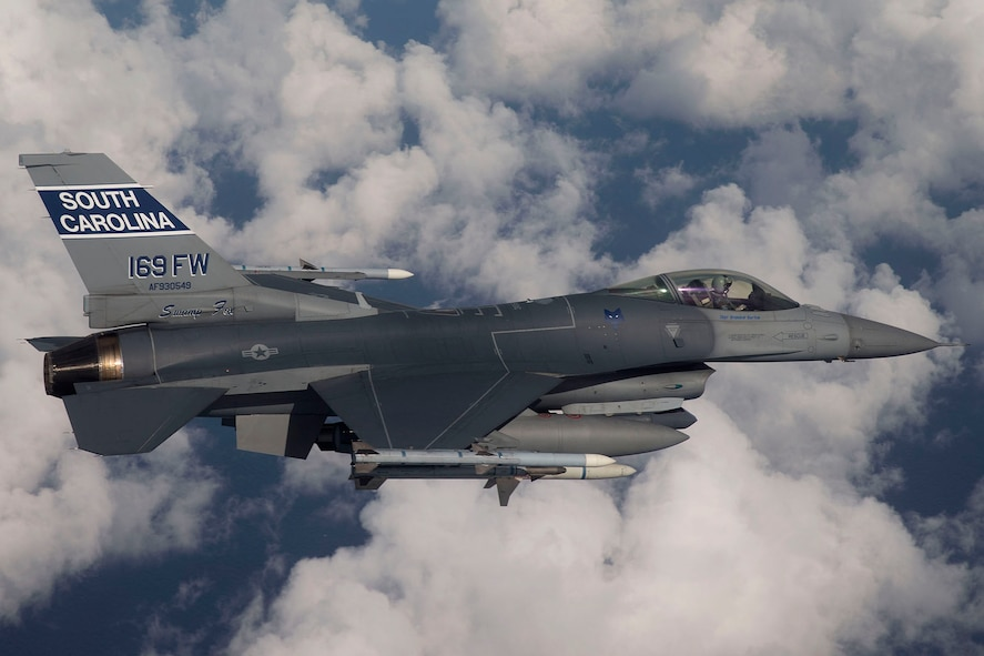 Airmen and F-16 Fighting Falcons with the 169th Fighter Wing from McEntire Joint National Guard Base, South Carolina, are set to deploy to Osan Air Base, Republic of Korea, mid-July in support of U.S. Pacific Command's Theather Security Package.(U.S. Air National Guard Courtesy Photo/Released)