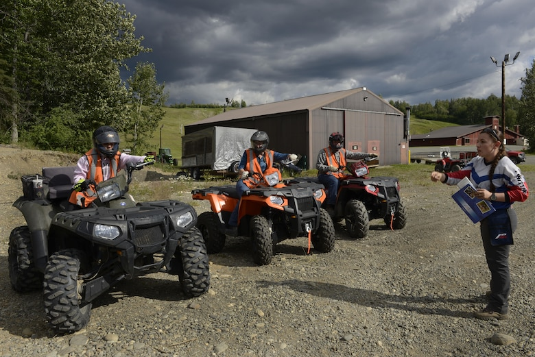 Participants learn proper turning techniques during an all-terrain vehicle safety course at the Hillberg Ski Resort at Joint Base Elmendorf-Richardson, June 29, 2016. During the class, students learned to properly start, stop, turn, swerve, ride over obstacles and traverse steep hills. (U.S. Air Force photo by Airman 1st Class Valerie Monroy)