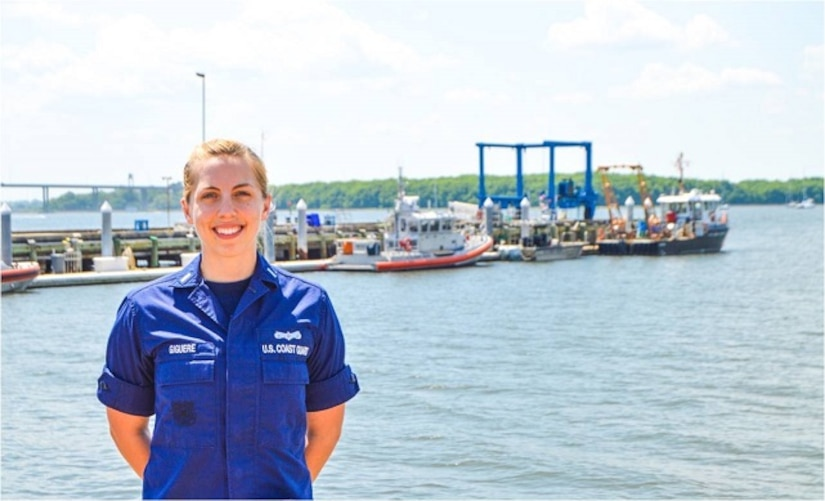 Lieutenant junior grade Cathleen Giguere stands on the pier at Coast Guard Sector Charleston Headquarters, Charleston, S.C. Giguere received the Capt. David H. Jarvis Award during the Navy League National Convention, June 17, 2016 in Charleston, S.C.(U.S. Coast Guard courtesy photo)