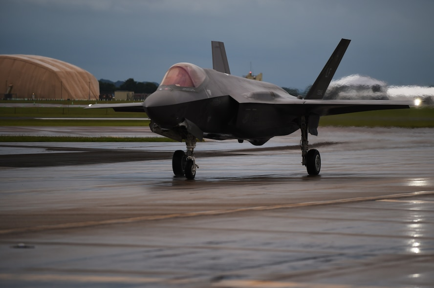 An F-35A Lightning II taxis down the flightline at RAF Fairford, United Kingdom, June 30, 2016. As the U.S. Air Force's newest 5th generation fighter, the F-35 is scheduled to perform aerial demonstrations during the Royal International Air Tattoo. (U.S. Air Force photo by Tech. Sgt. Jarad A. Denton/Released)