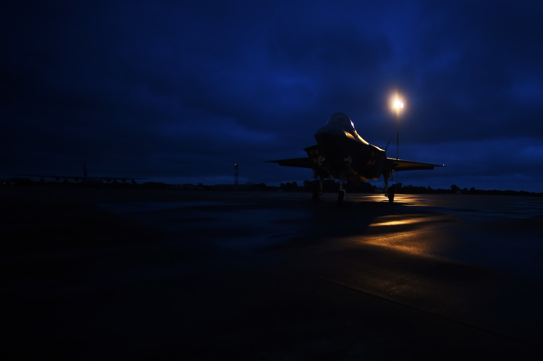 An F-35A Lightning II sits on the flightline at RAF Fairford, United Kingdom, June 30, 2016. This marked the first time the U.S. Air Force's newest, multi-role, 5th generation fighter touched down on UK soil. (U.S. Air Force photo by Tech. Sgt. Jarad A. Denton/Released)