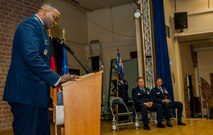 U.S. Air Force Col. Alfred Flowers, 52nd Medical Group commander, left, speaks during the 52nd Medical Support Squadron change of command ceremony in the Brickhouse on Spangdahlem Air Base, Germany, June 30, 2016. Flowers gave a speech bidding the outgoing commander of the 52nd MDSS, U.S. Air Force Lt. Col. Wade Adair, farewell and hailing in the incoming commander, U.S. Air Force Lt. Col. Thomas Lesnick. (U.S. Air Force photo by Airman 1st Class Timothy Kim/Released)