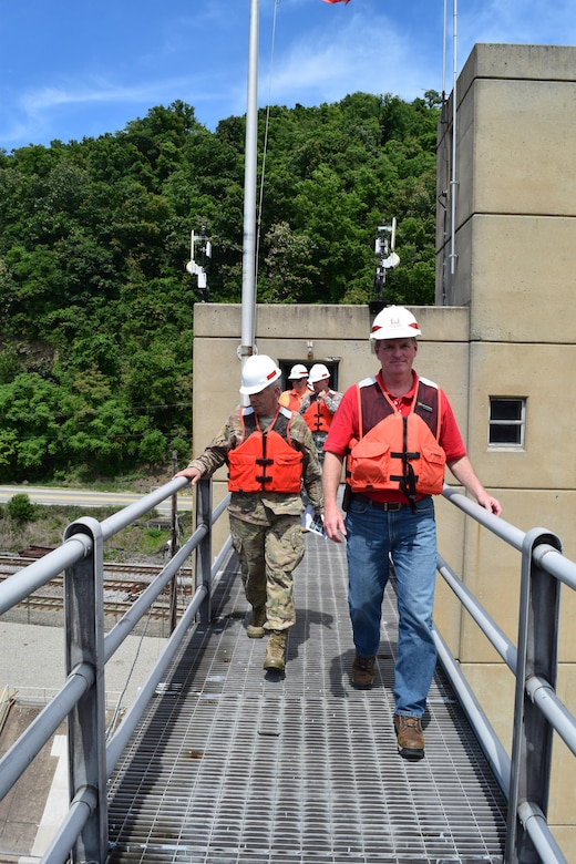 Lt. Gen. Todd Semonite, USACE commanding general and chief of engineers gets a bird-eye view of the construction in progress from the bridge of the dam at Locks and Dam 4 on the Monongahela at Charleroi, Pennsylvania, June 22.