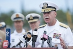 Navy Adm. Scott H. Swift, U.S. Pacific Fleet commander, talks about the 2016 Rim of the Pacific exercise during a news conference at Joint Base Pearl Harbor-Hickam, Hawaii, July 5, 2016. Twenty-six nations, more than 40 ships and submarines, more than 200 aircraft and 25,000 personnel are participating in the world's largest international maritime exercise. Air Force photo by Staff Sgt. Christopher Hubenthal