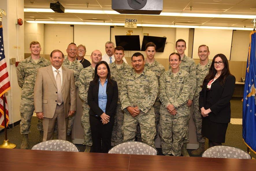 Members from several organizations pose for a photo in the completed Mission Assurance Room, June 24, 2016, Vandenberg Air Force Base, Calif. The 1st ASTS recently completed a project on two launch support centers – the Falcon Launch Support Center and the Mission Assurance Readiness Site -- that will be key to posturing the 30th Launch Group to support future government missions launching on SpaceX rockets. (U.S. Air Force photo by Airman 1st Class Robert J. Volio/Released)