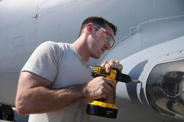 Tech. Sgt. William Mitchell drills out a rivet on a KC-135 Stratotanker as part of his job as an Aerospace Maintenance Craftsman assigned to the 927th Aircraft Maintenance Squadron, MacDill Air Force Base, Florida. Mitchell was recently appointed to the Reserve Advisory Council where he will advocate on behalf of all the servicemembers assigned to the Air Force Reserve Command. Mitchell will be responsible for soliciting input from reservists that they will then take to the Pentagon and Capitol Hill for the council meetings, advocating on behalf of the command. (Courtesy Photo)