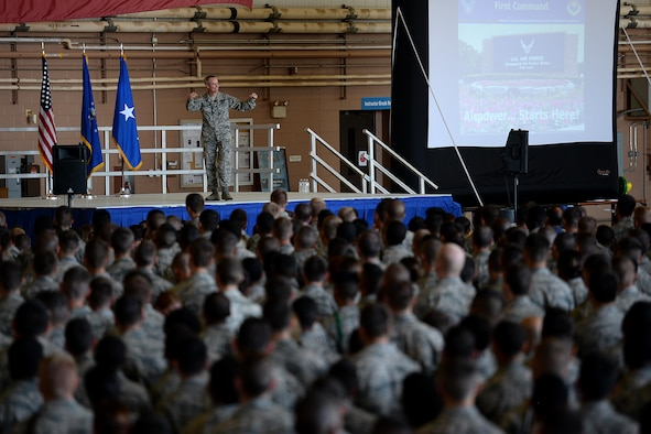 Lt. Gen. Darryl Roberson, Air Education and Training Command commander, speaks at an all call at Sheppard Air Force Base, Texas, June 29, 2016. Roberson shared his leadership philosophy with more than five thousand Airmen in Training and personnel within the 82nd Training Wing; highlighting the importance leadership has on the mission and the individual. (U.S. Air Force photo by Senior Airman Kyle E. Gese)