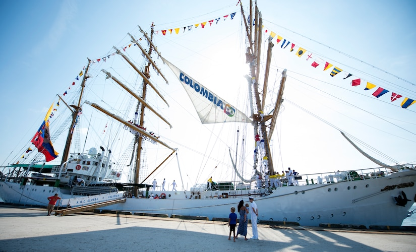 Colombian Tall Ship ARC GLORIA arrives at the Union Pier in Charleston, S.C., July 3, 2016. In November 2016, GLORIA will celebrate 48 years of sailing and delivering the message of international goodwill and friendship, having waved its flag in more than 190 ports around the globe. (U.S. Air Force Photo/Airman Megan Munoz)