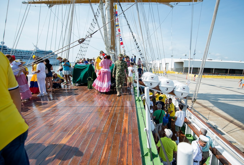 Members of the Charleston community tour the Colombian Tall Ship ARC GLORIA at the Union Pier in Charleston, S.C. July 3, 2016. Community members had the opportunity to board and tour the ship July 3-4. (U.S. Air Force Photo/Airman Megan Munoz)