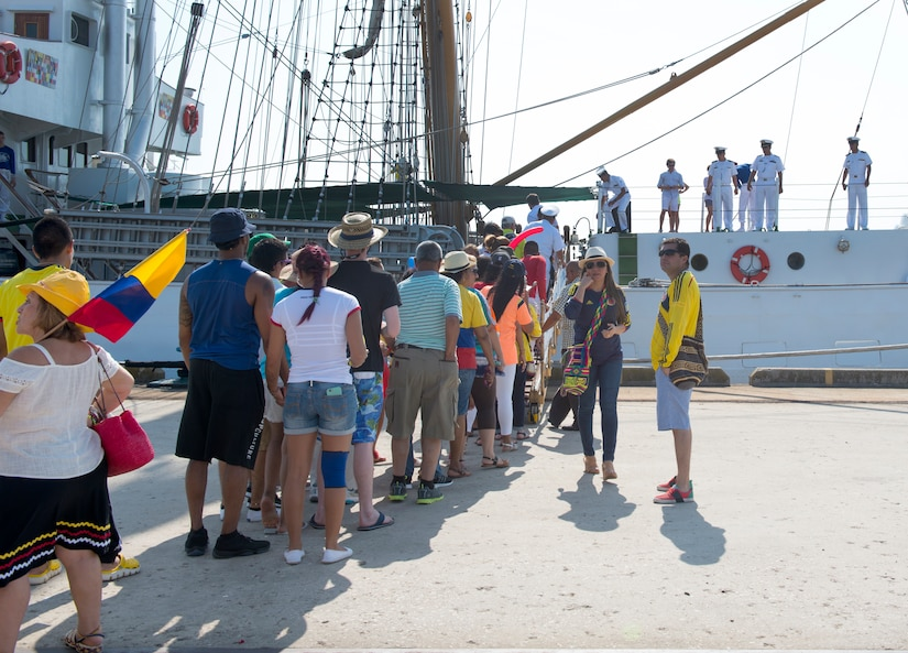 Members of the Charleston community board the Colombian Tall Ship ARC GLORIA at the Union Pier in Charleston, S.C. July 3, 2016. GLORIA is commanded by Captain Mauricio Echandia and manned by a crew of 154, including cadets, who work as a team to raise the ship's 23 sails and navigate the world's seas. (U.S. Air Force Photo/Airman Megan Munoz)