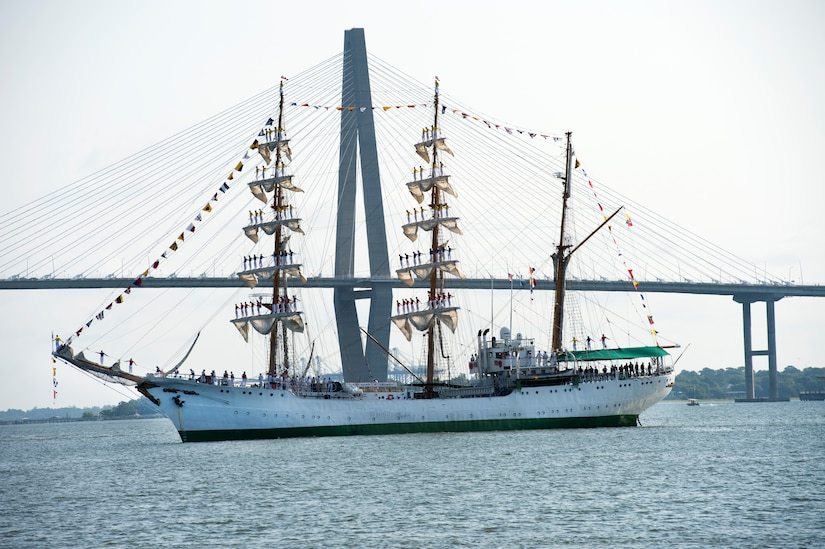 Colombian Tall Ship ARC GLORIA sails on the Cooper River before docking at the Union Pier in Charleston, S.C., July 3, 2016. The three-mast sailing vessel visits cities all over the world educating audiences about Colombian culture and naval history. (U.S. Air Force Photo/Airman Megan Munoz)