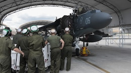 Marines with Marine Attack Squadron 231, Marine Aircraft Group 14, 2nd Marine Aircraft Wing perform a hydraulic systems inspection an AV-8B Harrier at Marine Corps Air Station Cherry Point, North Carolina, June 30, 2016. By performing daily tasks and needed maintenance on the aircraft to ensure readiness, Marines maintain their squadron's ability to deploy at a moment's notice.