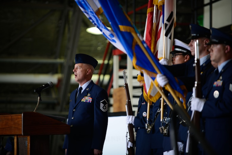 Master Sgt. John Norman, 731st Air Mobility Squadron, sings the Korean and U.S. national anthems during the Seventh Air Force change of command ceremony at Osan Air Base July 8, 2016. Lt. Gen. Thomas W. Bergeson became the 34th commander of Seventh Air Force, taking over for Lt. Gen. Terrence J. O'Shaughnessy who moves on to take over as Pacific Air Forces commander. (U.S. Air Force photo by Senior Airman Dillian Bamman/Released)