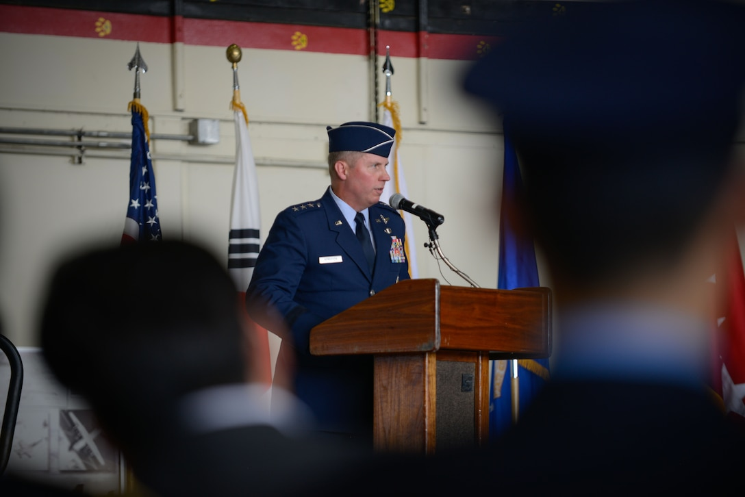 Lt. Gen. Thomas W. Bergeson addresses the Airmen of Seventh Air Force and distinguished visitors during a change of command ceremony at Osan Air Base July 8, 2016. Bergeson accepted command of Seventh Air Force, taking over for Lt. Gen. Terrence J. O'Shaughnessy who moves on to take over as Pacific Air Forces commander. (U.S. Air Force photo by Senior Airman Dillian Bamman)