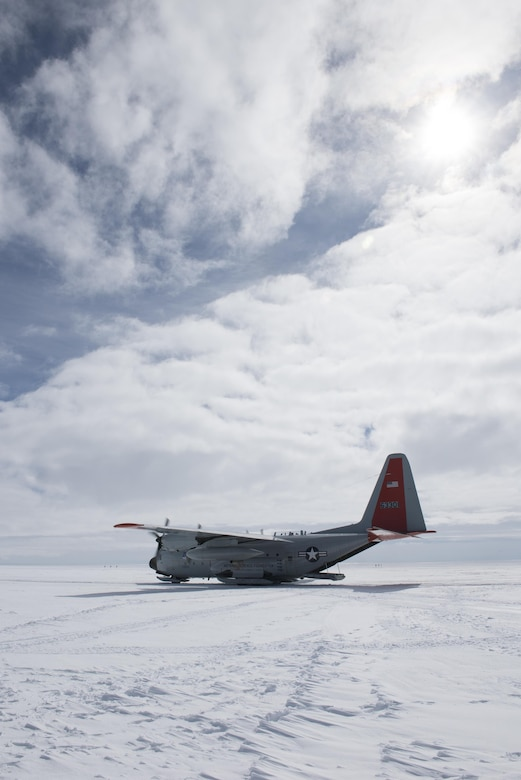 "An LC-130 Hercules ""Skibird"" from the New York Air National Guard's 109th Airlift Wing sits at Camp Raven, Greenland, on June 28, 2016. Crews with the 109th AW use Camp Raven as a training site for landing the ski-equipped LC-130s on snow and ice. (U.S. Air National Guard photo/Staff Sgt. Benjamin German)"