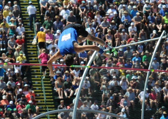 Pole vaulter Air Force 1st Lt. Cale Simmons clears the bar during the U.S. Olympic track and field trials in Eugene, Ore., July 2, 2016. Two days later, he secured a spot on the U.S. Olympic team with a second-place finish in the finals. Army photo by David Vergun