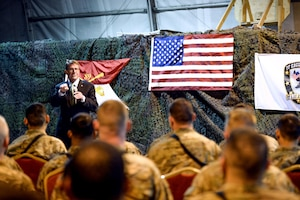 Defense Secretary Ash Carter speaks with troops at Forward Operating Base Fenty in Afghanistan, Dec. 18, 2015. Afghanistan is likely to be a major topic of discussion at the July 8-9, 2016, NATO summit in Warsaw, Poland. DoD photo by Army Sgt. 1st Class Clydell Kinchen