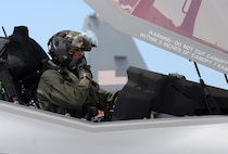 "Lt. Col. Kevin ""Sonar"" Hall, 514th Flight Test Squadron, prepares to test fly the twelfth, 388th Fighter Wing, F-35A Lightning II aircraft needed to declare initial operational capability (IOC) depot and unit-level modifications were completed June 30, 2016 at Hill Air Force Base, Utah. During the flight he ensured the modifications were corrected to an overpressure condition in the fuel system during elevated G-maneuvers and fuel migration between internal fuel tanks. (U.S. Air Force Photo by Alex R. Lloyd)"