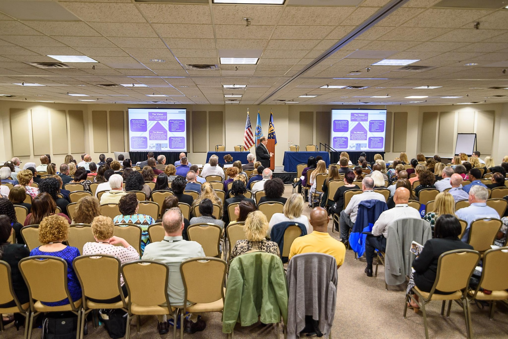 About 200 professionals from the Defense Contract Management Agency gathered in Northern Virginia recently for a three-day training workshop that discussed a variety of mission support topics. (DCMA photo by Patrick Tremblay)